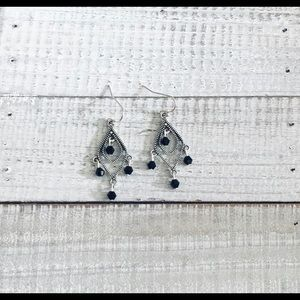 Bohemian Black Drop Silver Earrings NWT